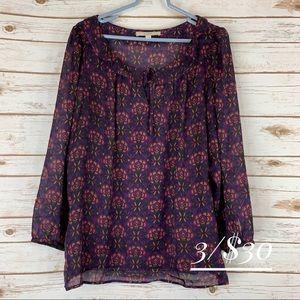 Loft 2X blouse top ruffle keyhole neck semi sheer